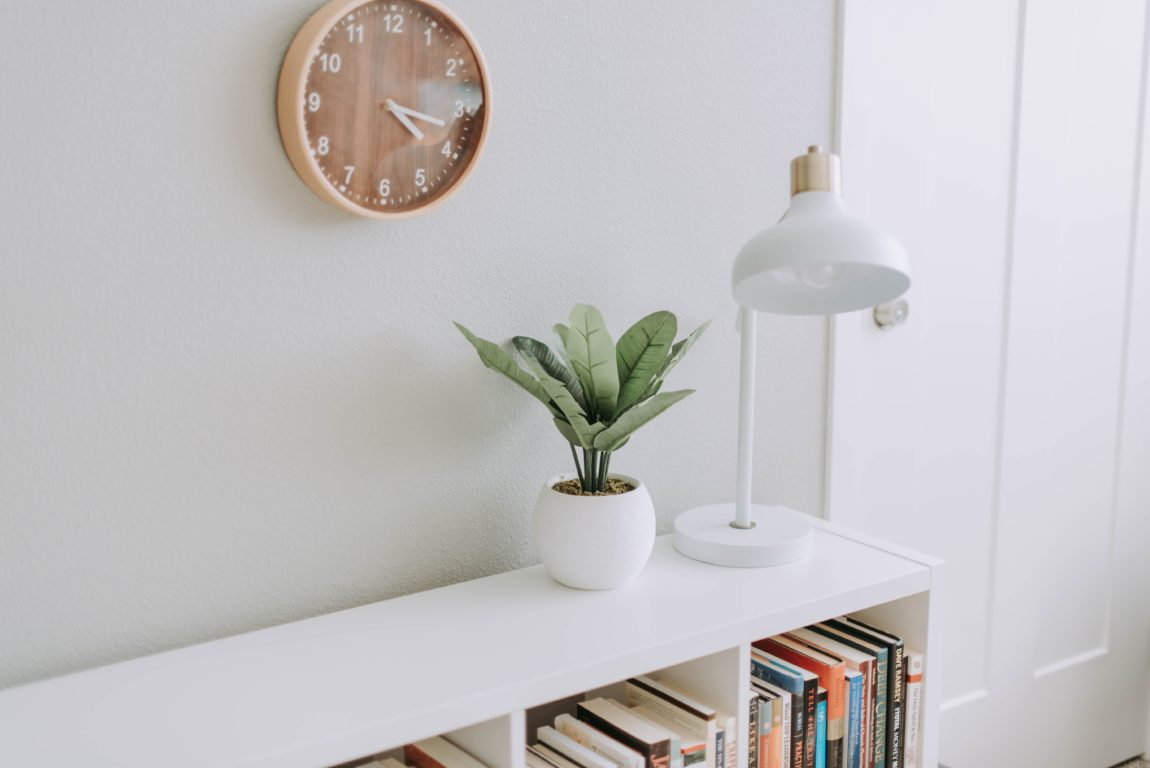 Bookcase with plant and lamp on top