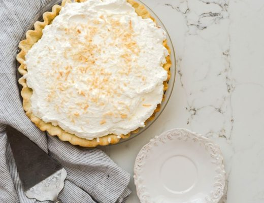 Pie on top of marble countertop