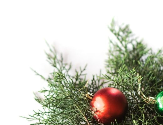 Christmas tree with ball ornaments against white background