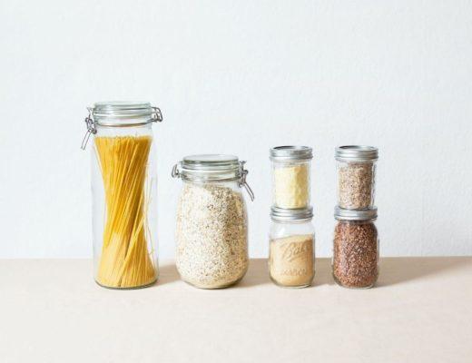 Glass jars of dry pantry staples