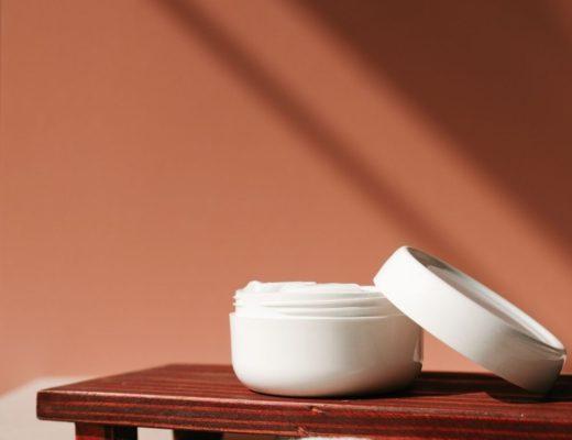 Moisturizing cream in white container