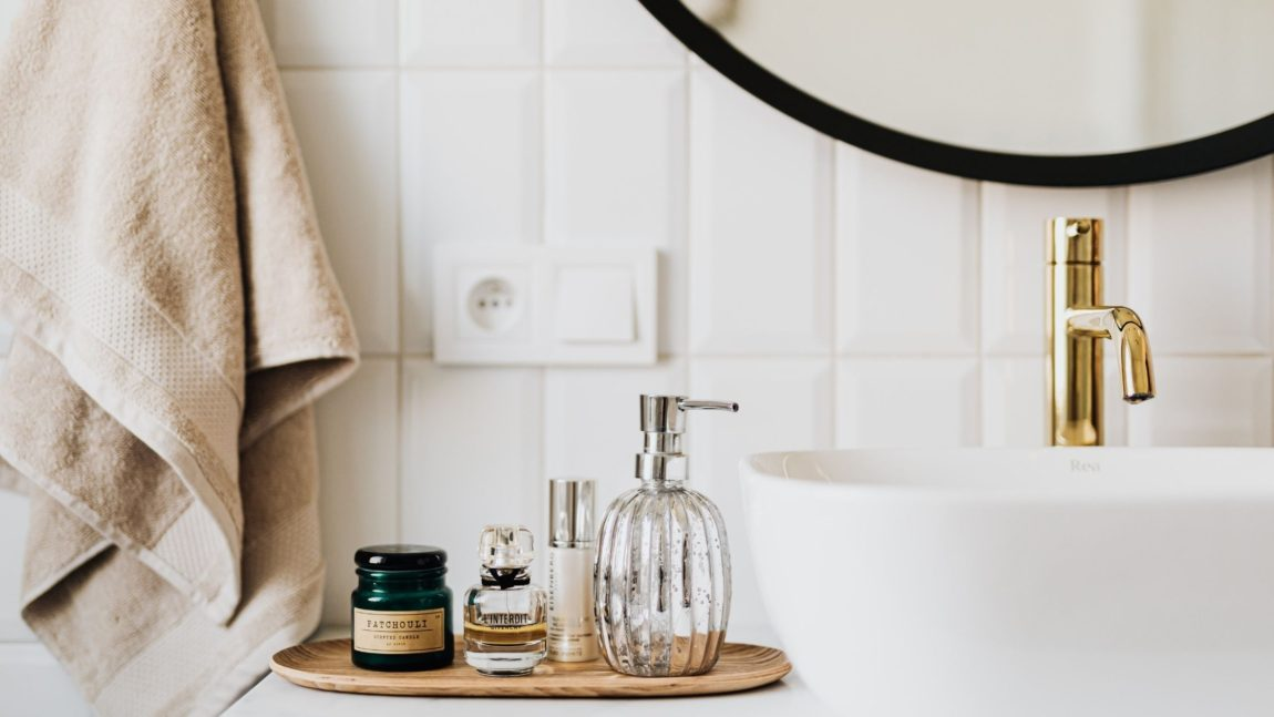 Bathroom counter with skincare products