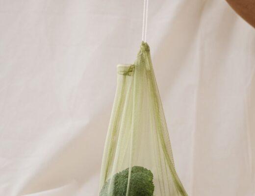 Broccoli in reusable produce bag