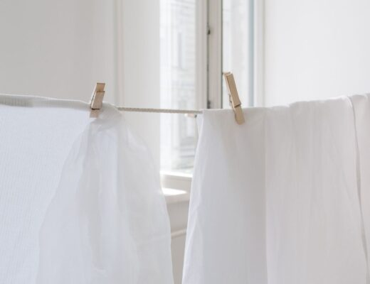 Clothes drying on indoor clothes line